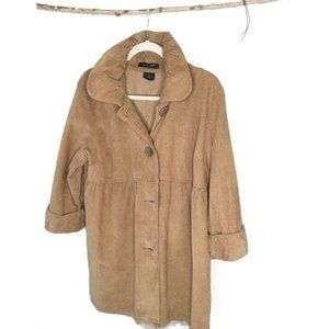 French Cuff Corduroy Pea Coat In Sand